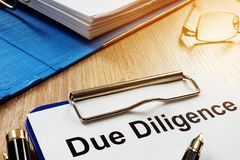 Document with title Due Diligence. royalty free stock image