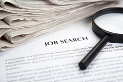 Document with the title of job search Royalty Free Stock Photo