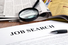 Document with the title of job search Stock Image
