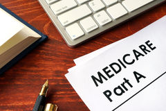 Document with title medicare part a. Medical insurance concept stock photography