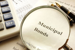 Document with title municipal bond. Document with title municipal bond on a table royalty free stock photography