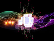 Document Universe. Interplay of document pages and abstract graphic elements on the subject of document processing, office, communications, information sharing Royalty Free Stock Photo