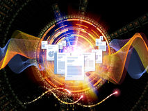 Document Universe. Interplay of document pages and abstract graphic elements on the subject of document processing, office, communications, information sharing Stock Photo
