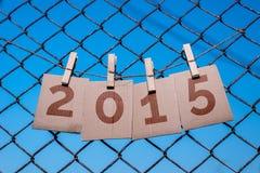 2015 document van het nieuwjaar het antieke perkament Stock Foto's