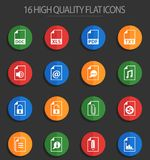 Document 16 flat icons. Document vector icons for web and user interface design royalty free illustration