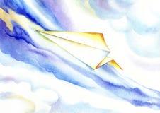 Document vliegtuig die in de blauwe hemel stijgen Stock Foto's