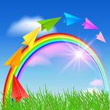 Document vliegtuig en regenboog stock illustratie