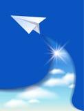 Document vliegtuig en wolkenhemel vector illustratie