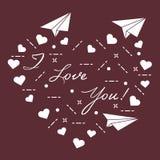 Document vliegtuig, harten De Dag van de valentijnskaart \ 's Stock Fotografie