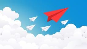 Document vliegtuigachtergrond Creatief conceptenidee, bedrijfssucces en de minimale illustratie van de leidersvisie Vectorvliegtu royalty-vrije illustratie