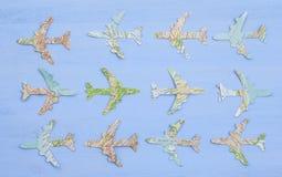 Document vliegtuigen op blauw Royalty-vrije Stock Fotografie