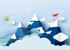 Document vliegtuigengroepswerk die op blauwe hemel vliegen Stock Fotografie