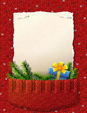 Document voor Kerstmislijst in gebreide zak Stock Foto's