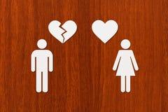Document vrouw met hart en man met gebroken  Stock Afbeeldingen
