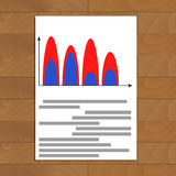 Document with wave color chart. Statistic infographic economic, vector illustration Stock Photos