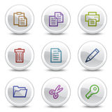 Document web colour icons, white circle buttons. Vector web colour icons, white circle buttons series Stock Illustration