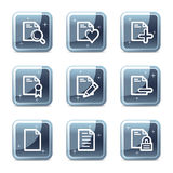Document web icons. Vector web icons, blue glossy mineral square buttons series Royalty Free Stock Image