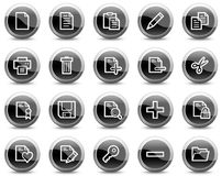 Document web icons, black glossy circle buttons Royalty Free Stock Images