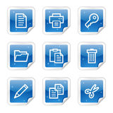 Document web icons, blue glossy sticker series. Vector web icons, blue glossy sticker series royalty free illustration