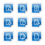 Document web icons, blue sticker series set 2. Vector web icons, blue glossy sticker series royalty free illustration