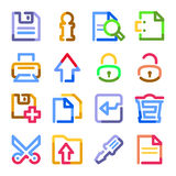 Document web icons. Color contour series. Stock Image