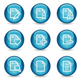 Document web icons, glossy sphere series set 2. Vector web icons, blue glossy sphere series Royalty Free Stock Photography