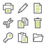 Document web icons, green and gray contour series Stock Image