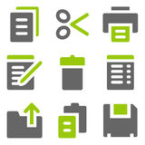 Document web icons, green grey solid icons royalty free stock photography