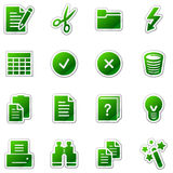 Document web icons, green sticker series Stock Photography
