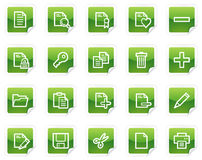 Document web icons, green sticker series Royalty Free Stock Images
