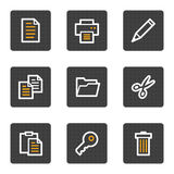 Document web icons, grey buttons series Royalty Free Stock Image