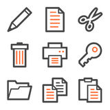 Document web icons, orange and gray contour series. Vector web icons, orange and gray contour series