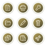 Document web icons set 1. Vector web icons set, brown circle buttons. Easy to edit, scale and colorize royalty free illustration