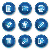 Document web icons set 1, blue circle buttons Royalty Free Stock Photo