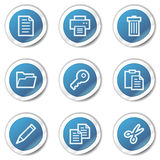 Document web icons set 1, blue sticker series Stock Images