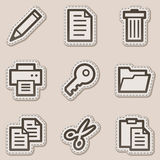 Document web icons set 1, brown contour sticker. Vector web icons set. Easy to edit, scale and colorize royalty free illustration