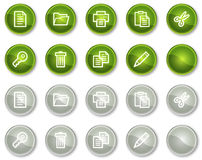 Document web icons set 1, circle buttons Royalty Free Stock Photos