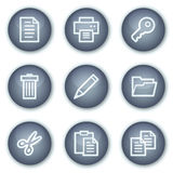 Document web icons set 1, mineral circle buttons. Vector web icons set. Easy to edit, scale and colorize vector illustration