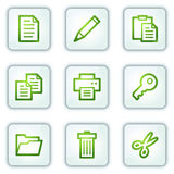 Document web icons set 1, white square buttons Stock Photos