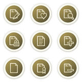 Document web icons set 2. Vector web icons set, brown circle buttons. Easy to edit, scale and colorize Royalty Free Stock Photo