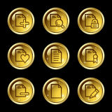 Document web icons set 2. Vector web icons, gold glossy circle buttons series Royalty Free Stock Image