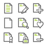 Document web icons set 2. Vector web icons, green and gray contour series Stock Photography