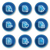 Document web icons set 2, blue circle buttons Stock Photography