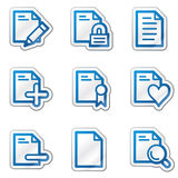 Document web icons set 2, blue contour sticker. Vector web icons. Easy to edit, scale and colorize Stock Photography
