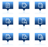 Document web icons set 2, blue speech bubbles. Vector web icons set. Easy to edit, scale and colorize Royalty Free Stock Photography