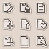 Document web icons set 2, brown contour sticker. Vector web icons set. Easy to edit, scale and colorize Royalty Free Stock Photo