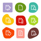 Document web icons set 2, colour spots series. Vector web icons, colour spots series. Easy to edit, scale and colorize Stock Image