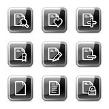 Document web icons set 2, glossy buttons series. Vector web icons, black square glossy buttons series Stock Image