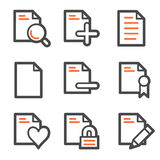 Document web icons set 2, orange and gray contour Royalty Free Stock Image