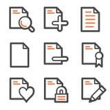 Document web icons set 2, orange and gray contour. Vector web icons, orange and gray contour series Royalty Free Stock Image